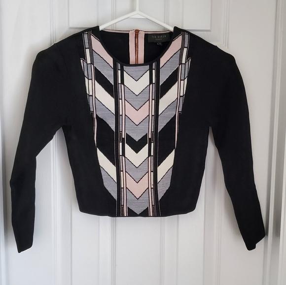 Ted Baker EUC Pink Black Grey Geometric Sweater